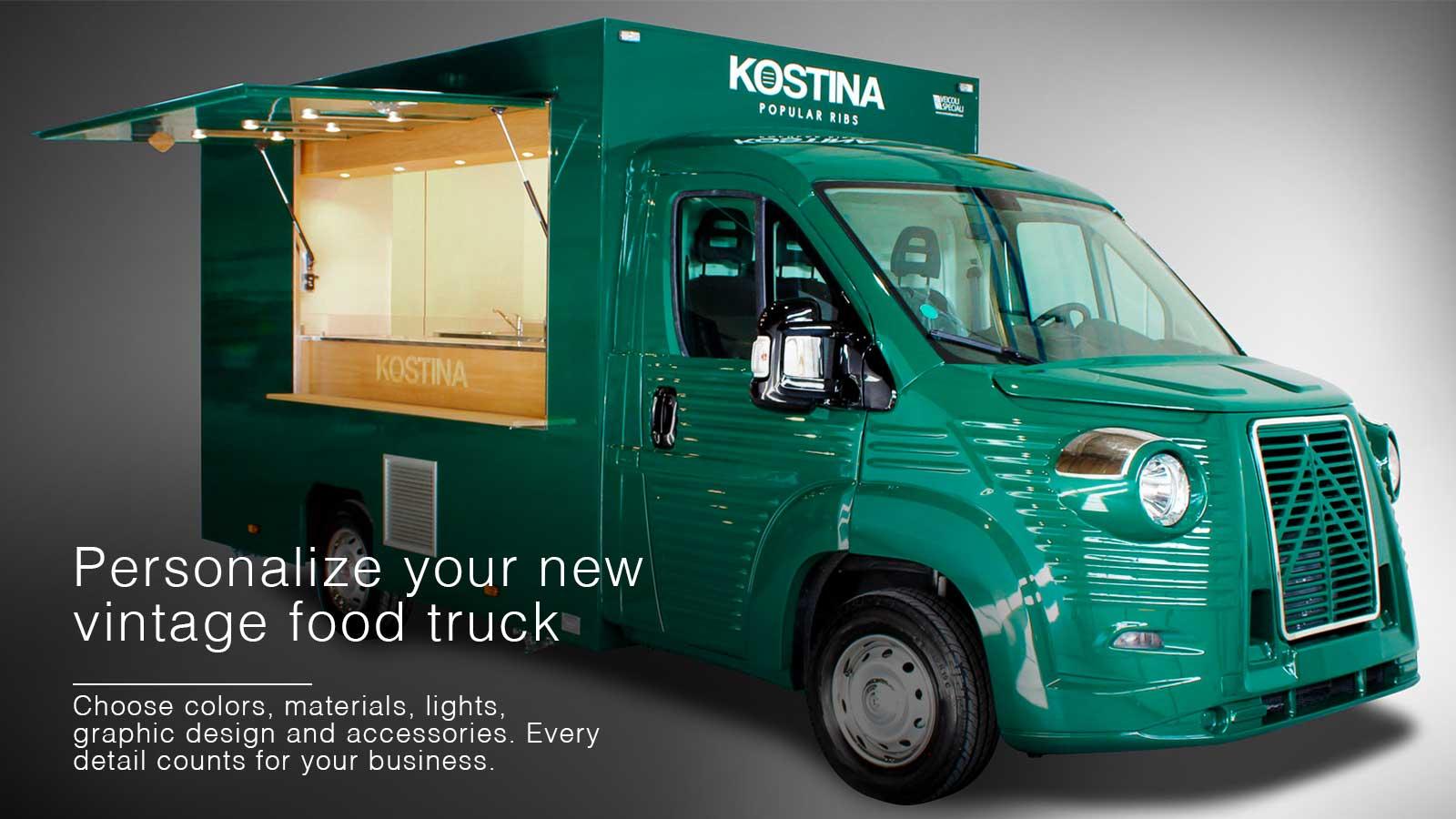 vintage food truck citroen for company promotion
