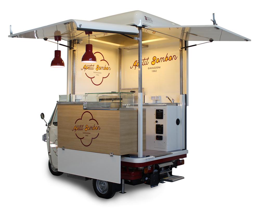 piaggio ape street food per vendita dolci e pasticcini