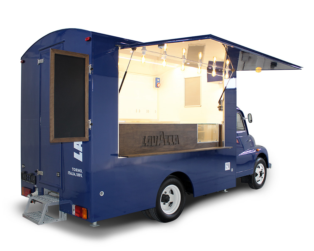 food truck vintage fiat 616 blue lavazza
