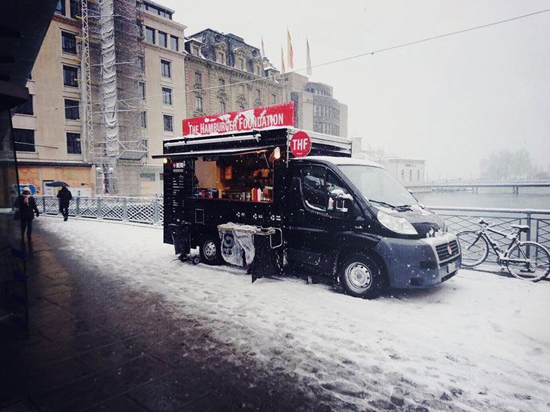 thf food van in switzerland during winter season