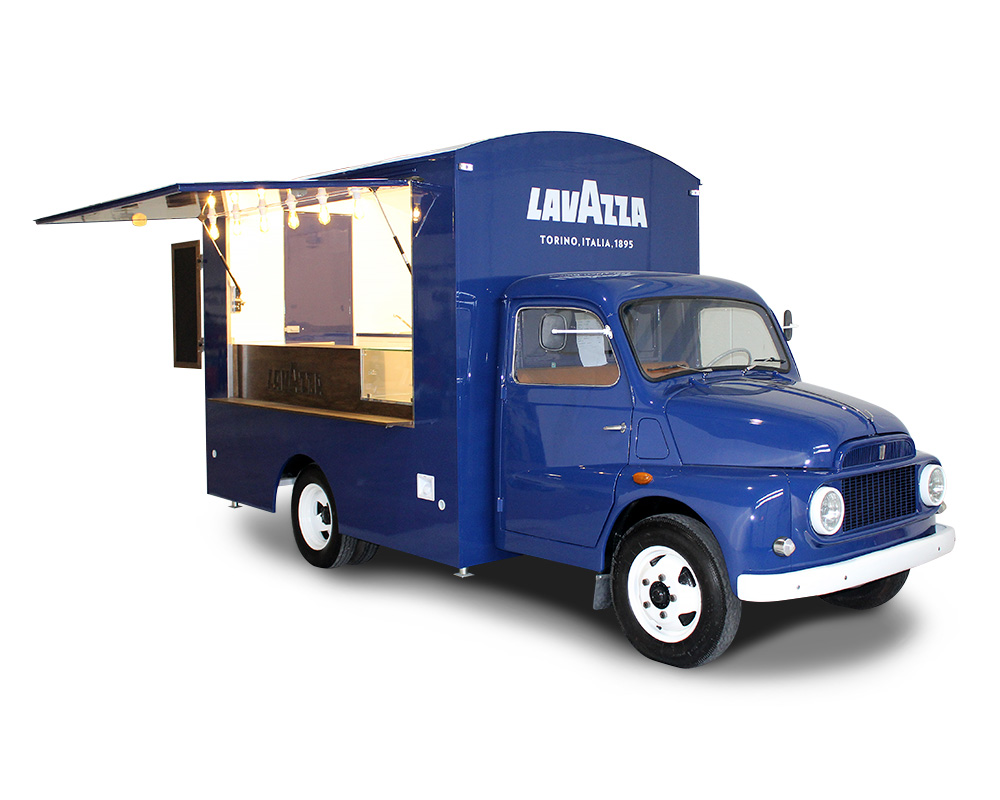 vintage vehicle transformed into food truck for lavazza company
