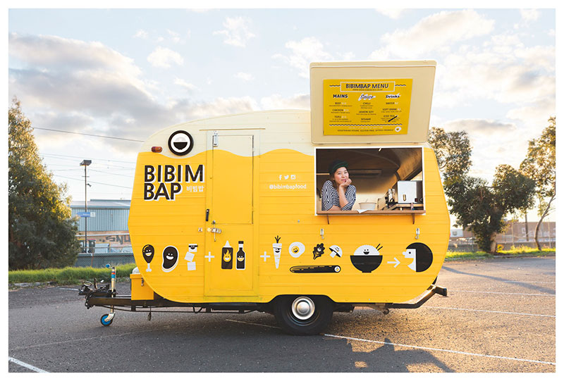 bibimbap yellow food caravan in melbourne for vending corean dishes