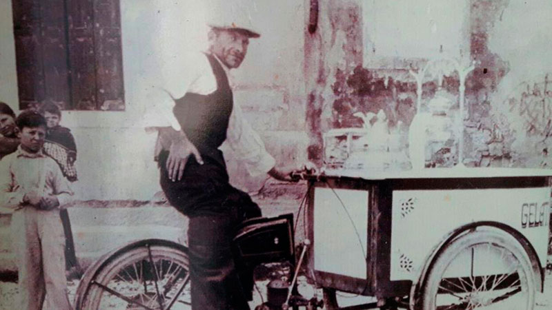 itinerant ice-cream cart historic black and white photo