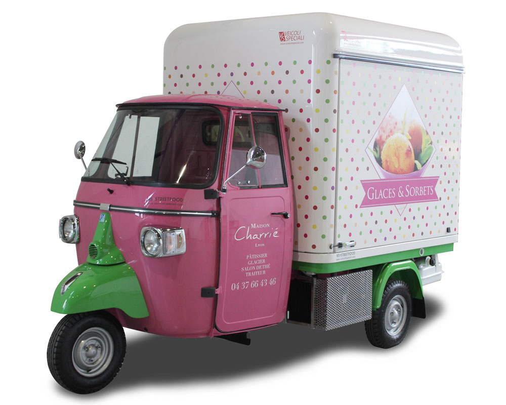 food truck piaggio apecar designed for ice-cream-pastry shop in france