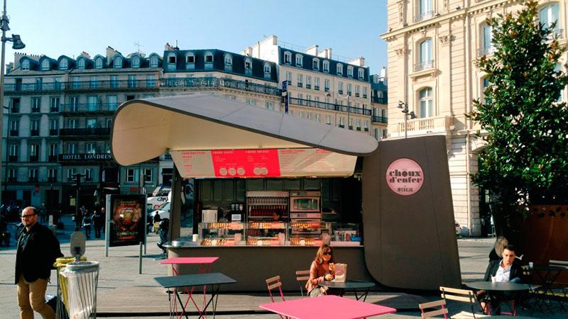 kiosk for street food in paris choux denfer