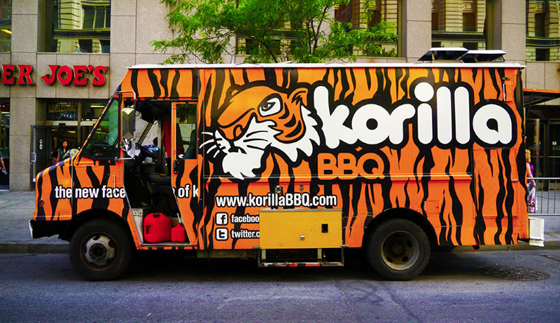 korilla bbq orange food truck vending corean-mexican food in new york