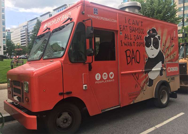 people's bao food truck vending chinese street food in washington dc usa