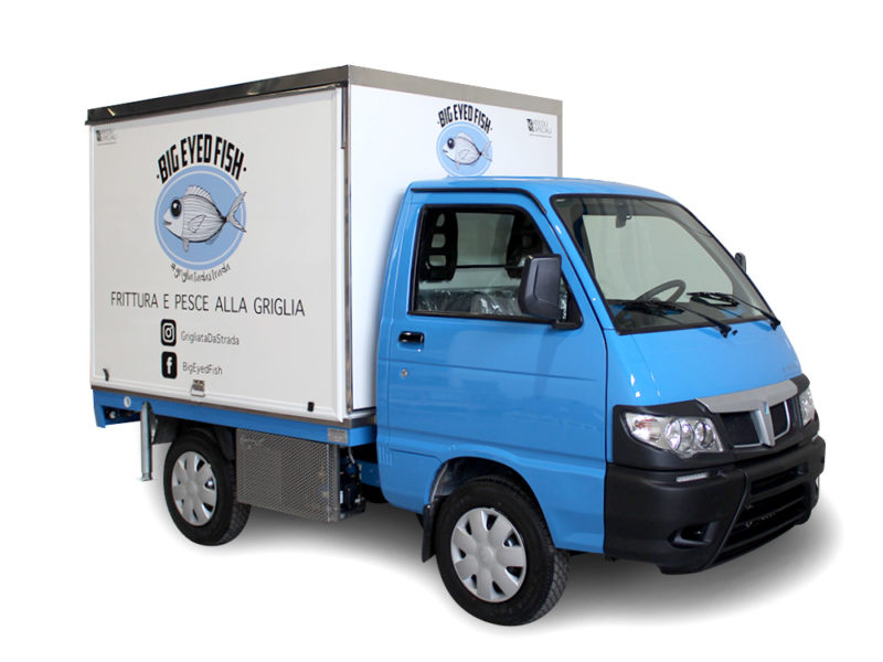 porter piaggio transformed into mobile kitchen to sell fry fish food