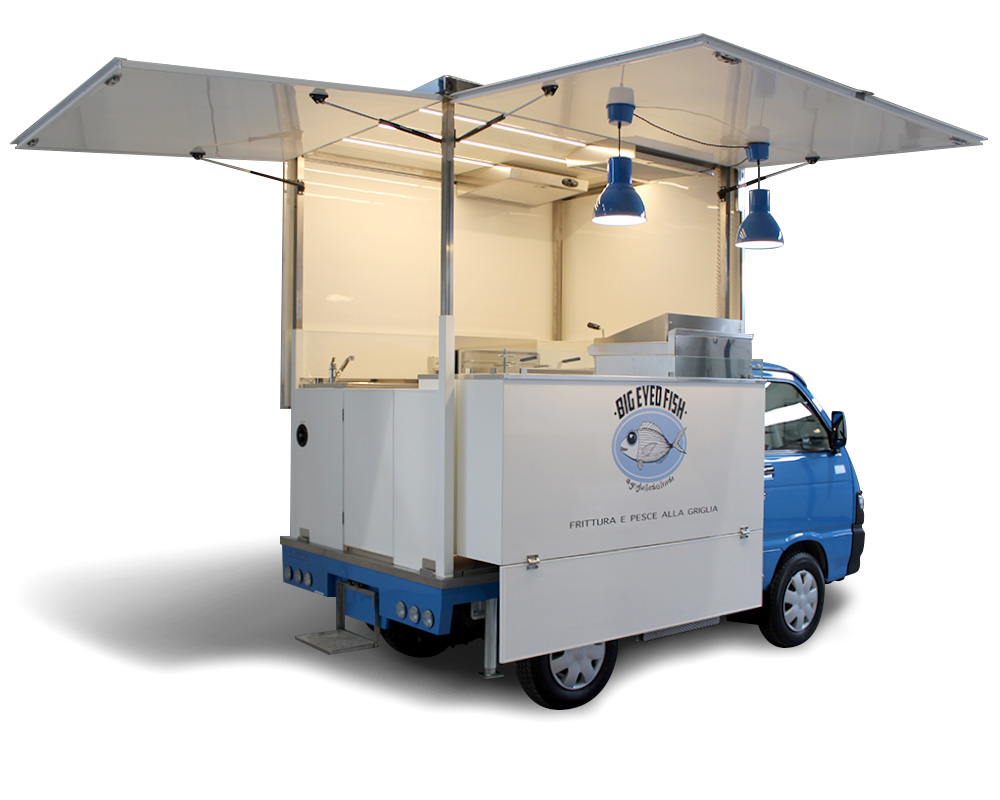 piaggio porter allestimento street food big eyed fish