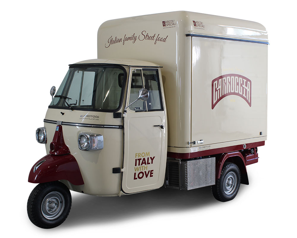 shop on 3-wheels Piaggio Ape for street trading in Germany