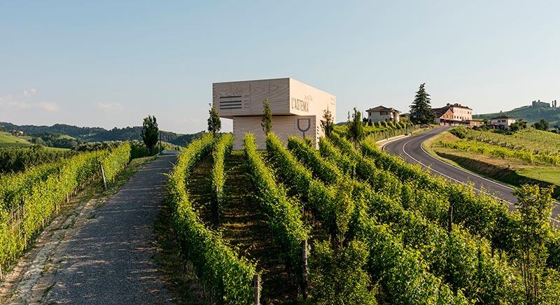 azienda vitivinicola astemia pentita a barolo - vista della cantina progettata come due casse di vino tra i vigneti