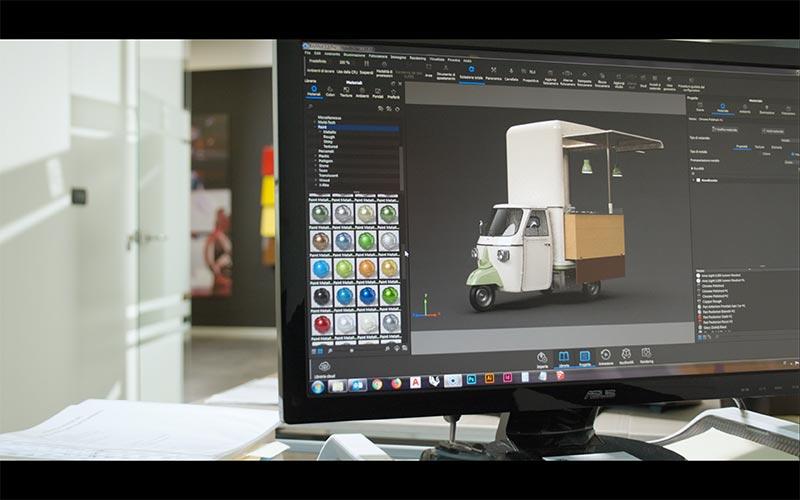 food truck designer e builder applicazione dei colori all'ape vcurve dal design brevettato