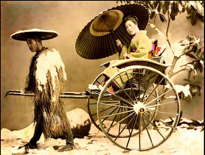 antico rickshaw giapponese fotografia