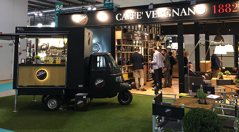 coffee van piaggio ape tr designed for Vergnano Caffè and used at events as a mobile coffee station