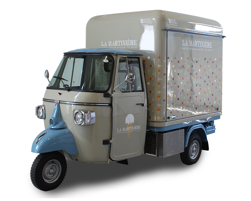 la martiniere 3-wheel piaggio apecar converted into mobile gelateria for branding and selling ice-cream along the beaches