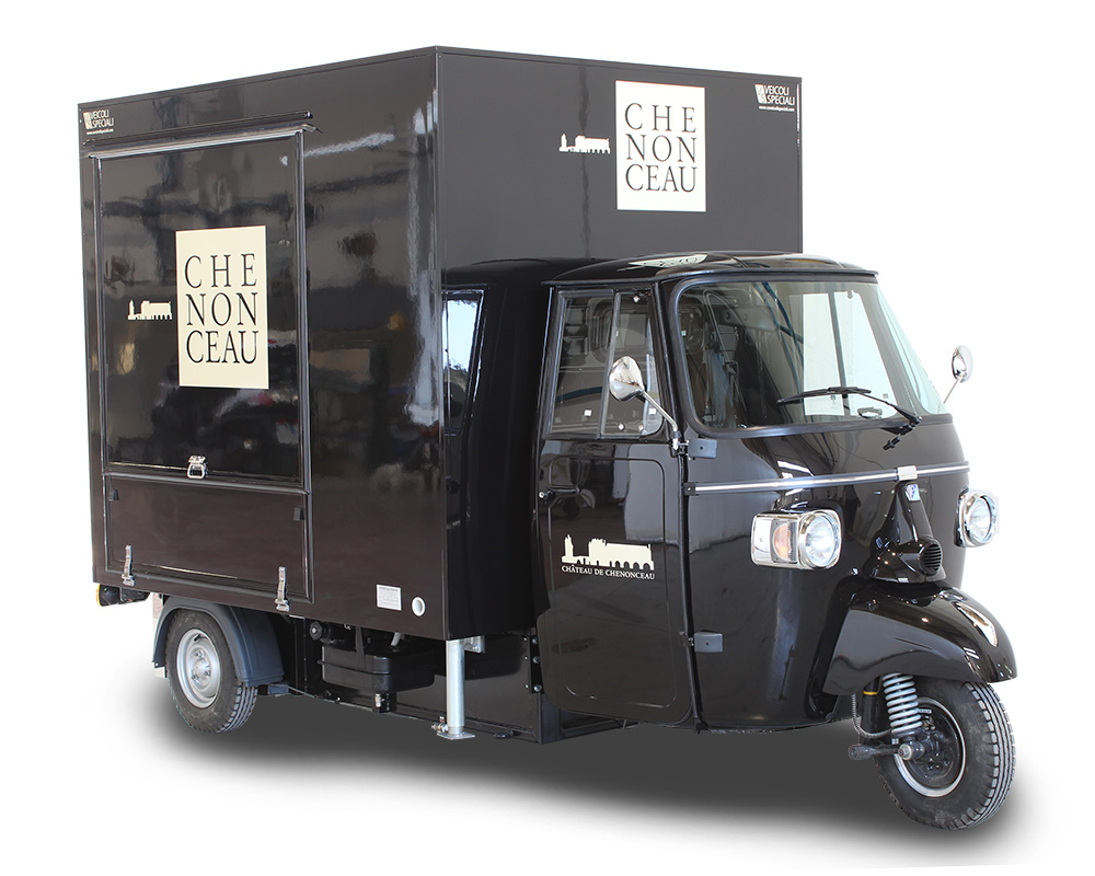 piaggio ape model TR set up for the chenonceau castle in france - black color