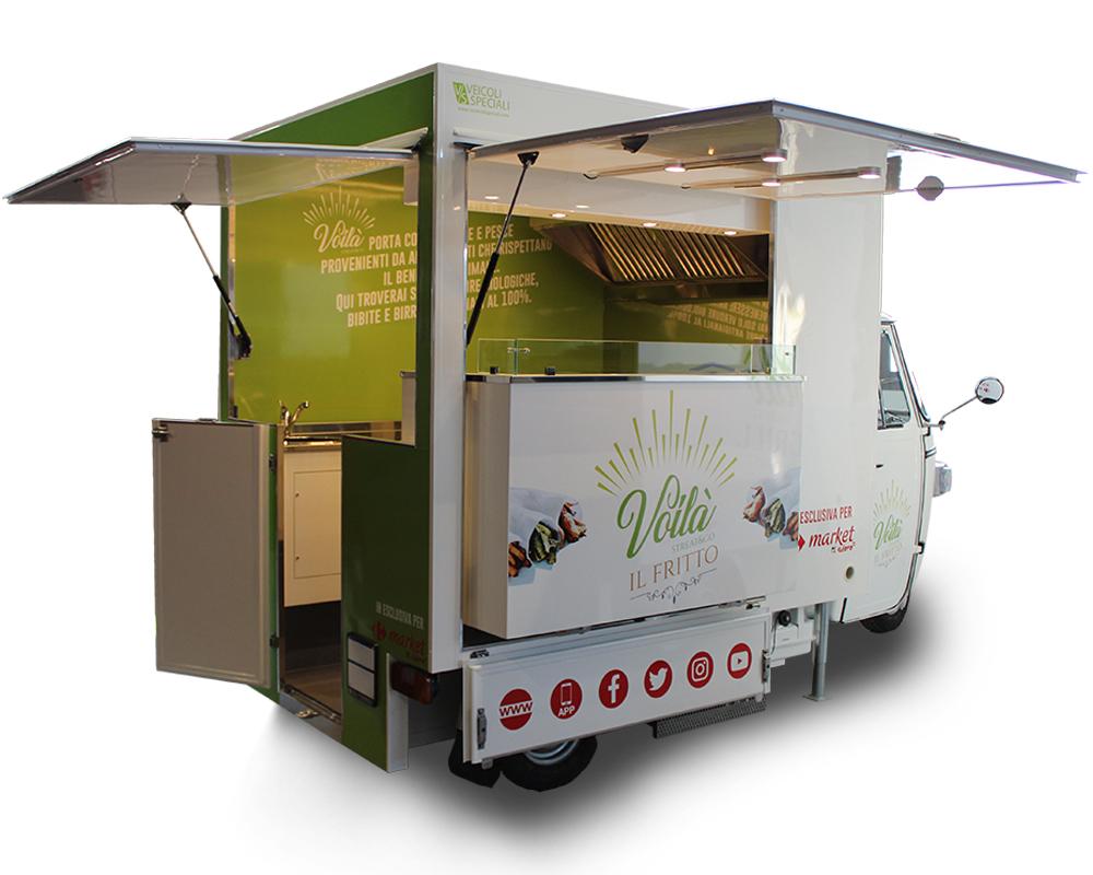 Ape TR Carrefour senza motore per vendita bibite e snack all'interno dei centri commerciali del gruppo della grande distribuzione francese