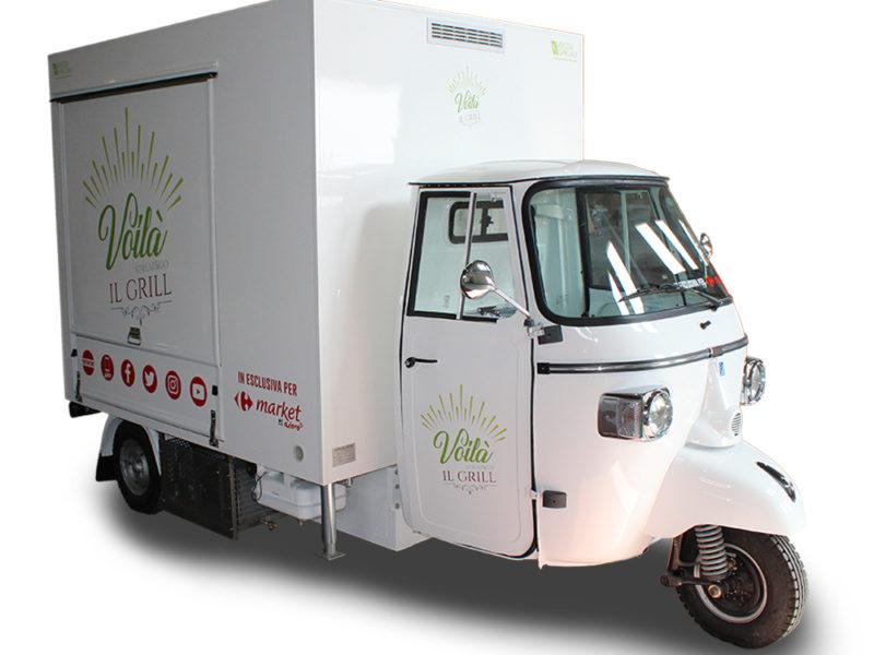 Ape TR Carrefour punto di ristoro mobile per spazi commerciali e partecipazione a eventi