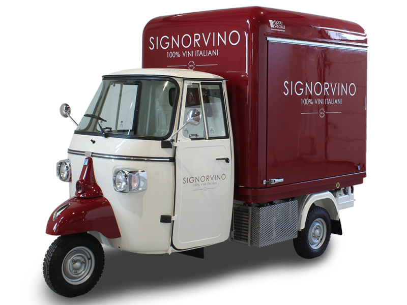 3-wheels piaggio ape itinerant wine-shop-bar