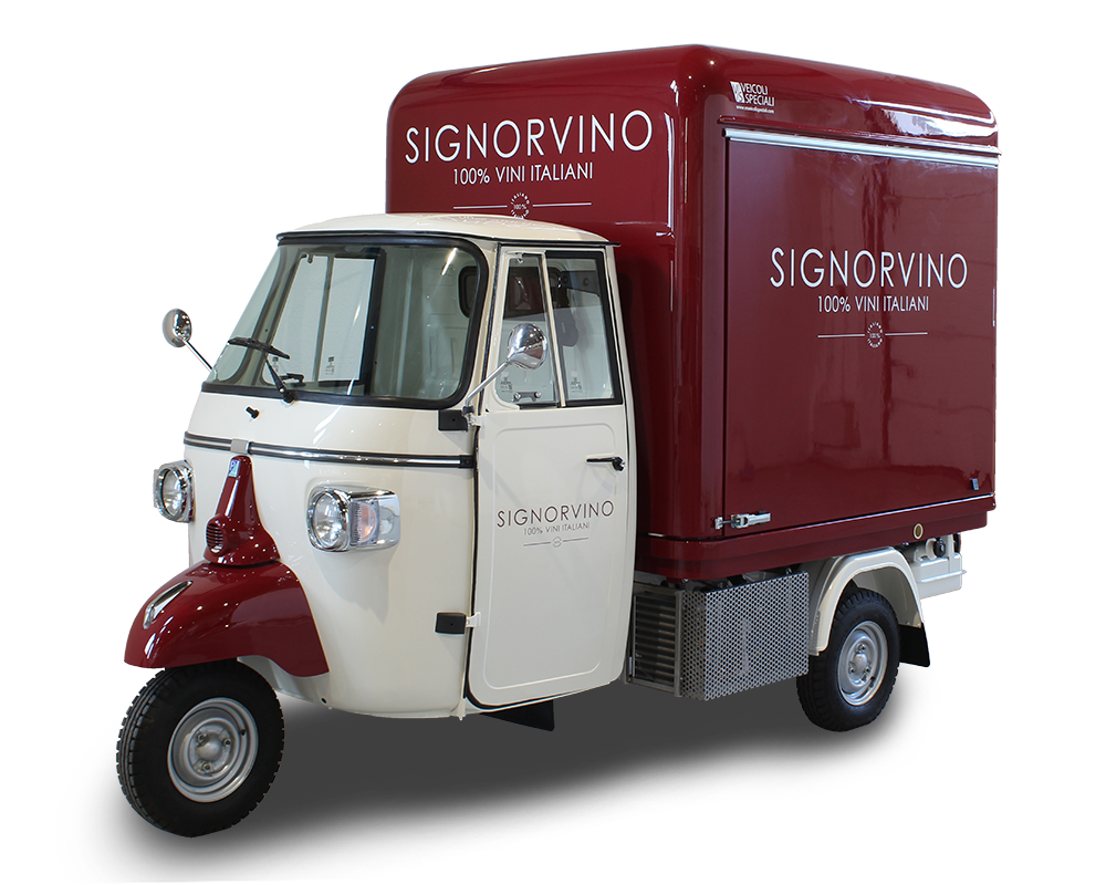 3-wheels piaggio ape itinerant wine-shop-bar