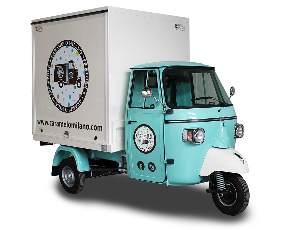 fashion truck for promotional purposes built for caramelo milano - piaggio ape smart model