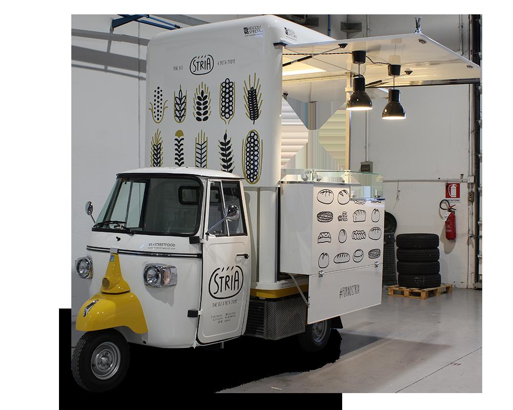 panificio ambulante forno stria ape food truck disegnata per vendere pane artigianale e dolci BIO a Reggio Emilia e negli eventi
