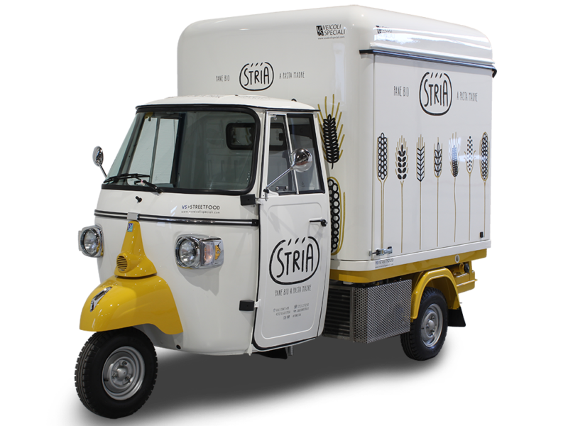 mobile bakery on three wheels piaggio ape van - forno stria in reggio emilia italy