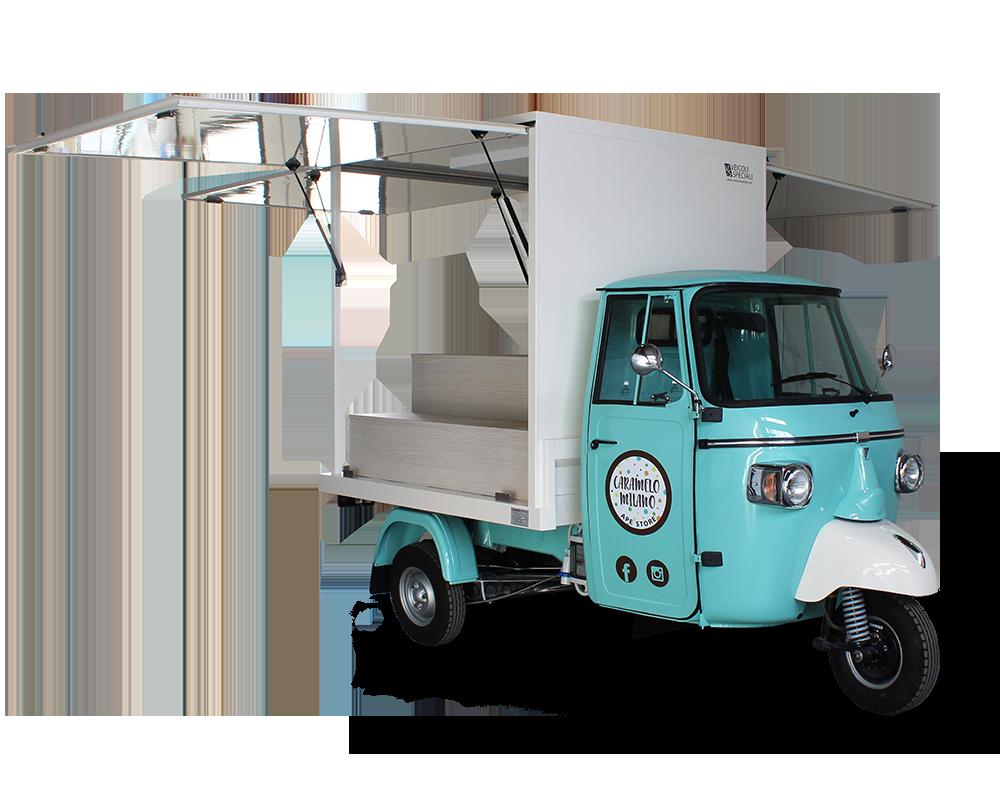 promo truck marchio moda caramelo personalizzato e attrezzato per esporre capi d'abbigliamento e accessori per la casa