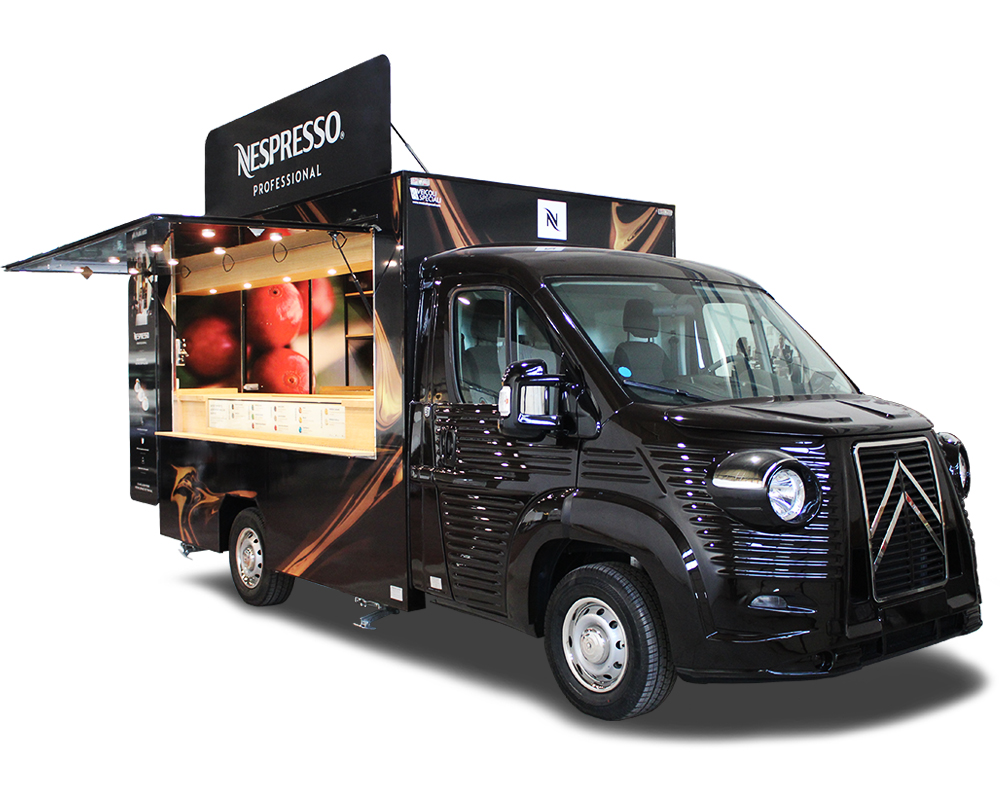 nespresso food truck caffetteria ambulante per promozione prodotti caffè e macchine professionali