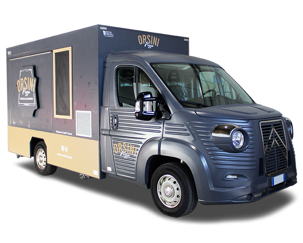 Pizza catering truck orsini designed to sell roman focaccia