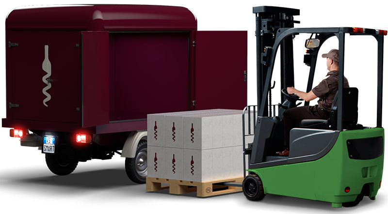 ape iappy delivery set-up for home and proximity deliveries with empty compartment for pallet insertion
