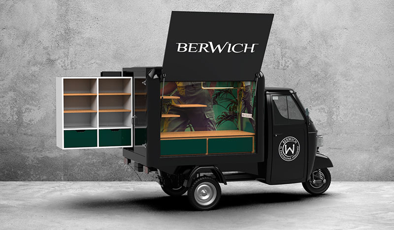 fashion truck berwich electric piaggio ape iAPPY mobile shop for clothing sales and display
