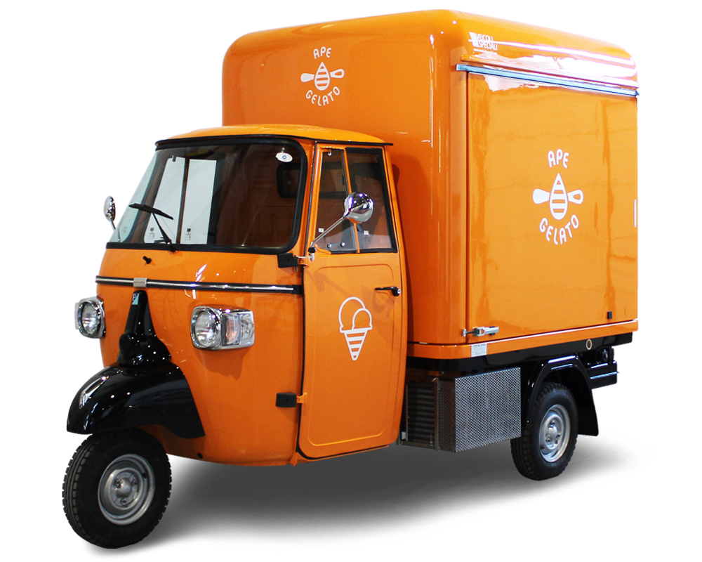 Mobile Ice-Cream Truck on Piaggio Ape Gelato designed for the enterprise KALLE in Finland