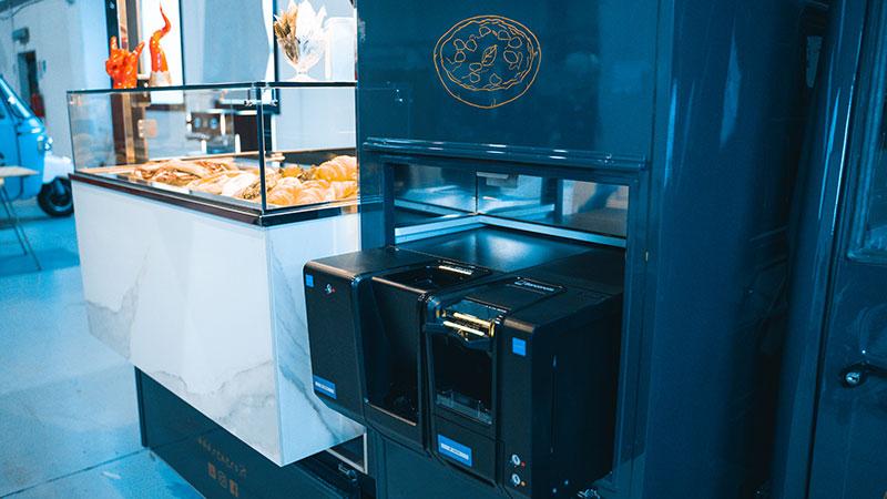 piaggio triporteur cafe ambulant avec caisse automatique