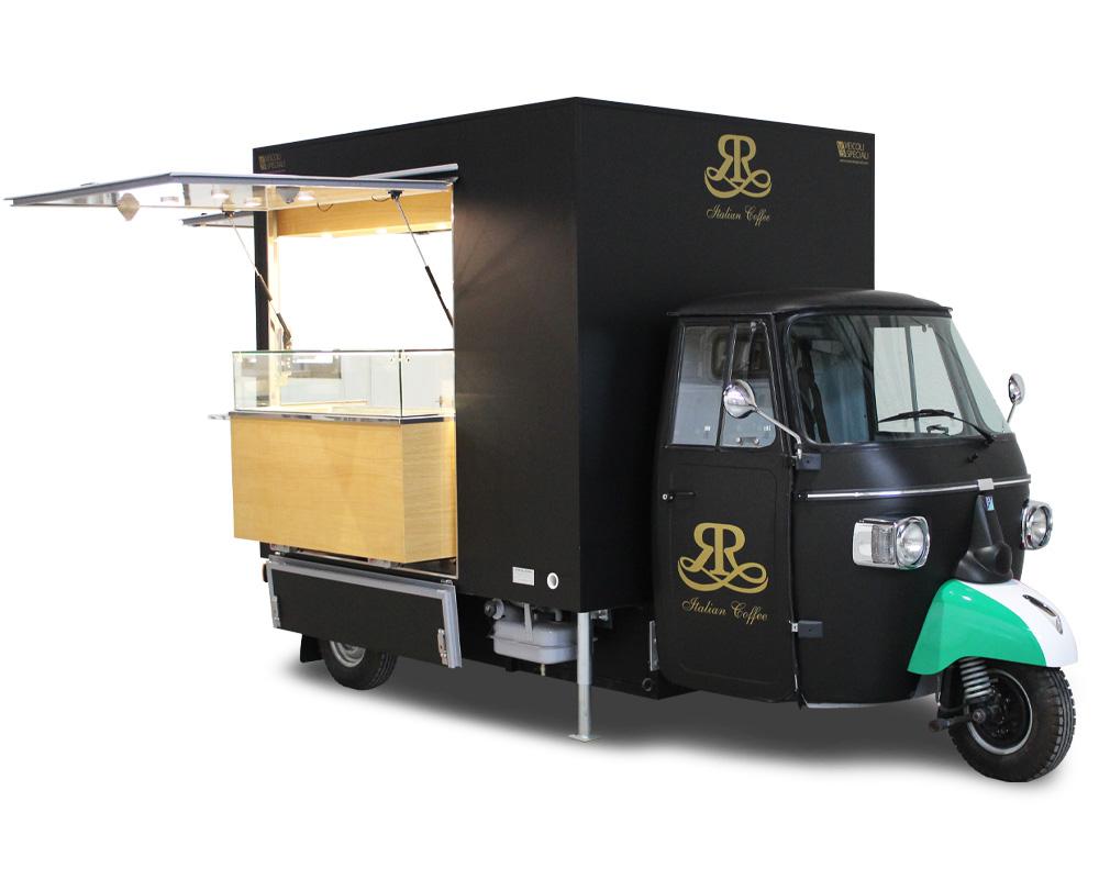 Bar-caffetteria ambulante su Piaggio Ape TR da posizionare in spazi chiusi e aperti per offrire un elegante e originale servizio di ristorazione