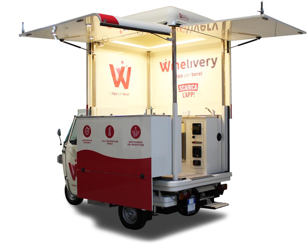 ape wine cocktail bar truck per promozione app di vini winelivery