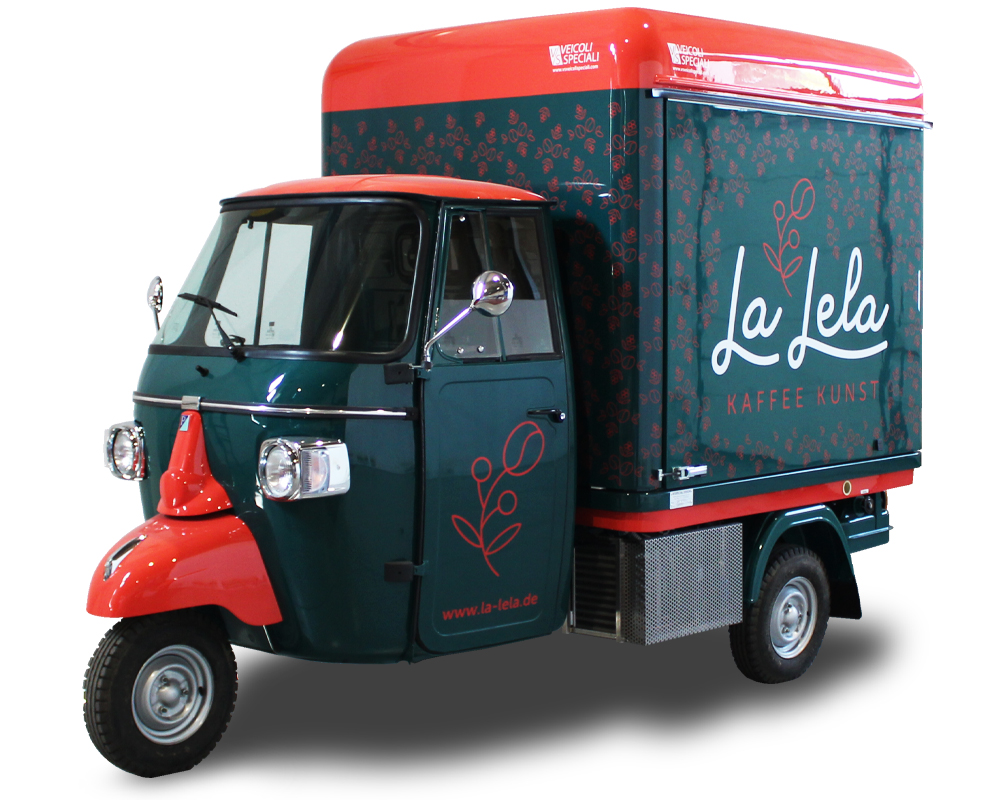 Mobile Coffee Truck built on Piaggio Food Truck and named La Lela Kaffee Kunst