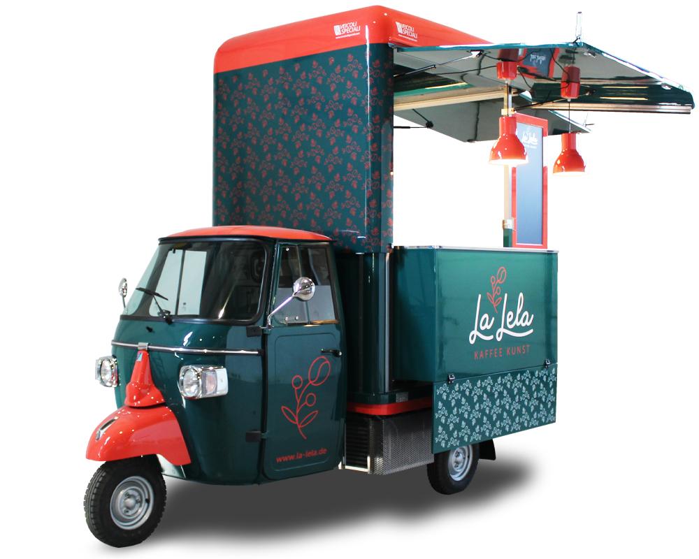 coffee truck su ape street food di natalia guerrero - La Lela kaffee kunst