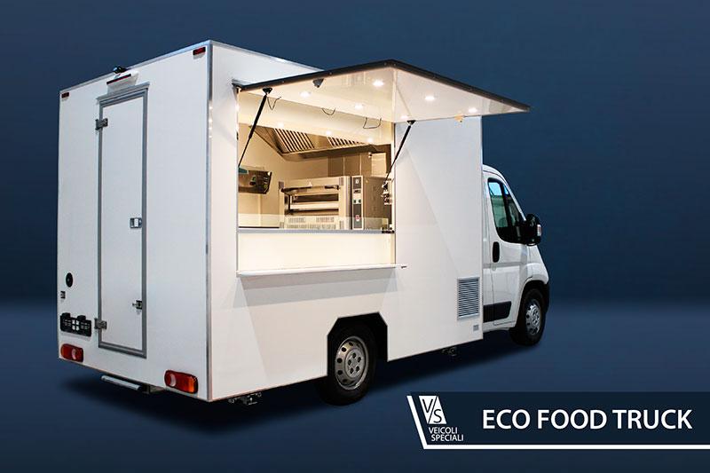 eco food truck pizzeria ambulante non verniciato con attrezzature essenziali orientato alla vendita