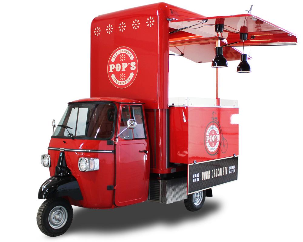ice cream apecar rossa per street food business negli usa - acquistata della gelateria pop's
