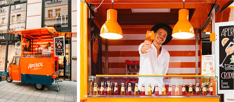 aperol spritz ape food van for events and promotional tours