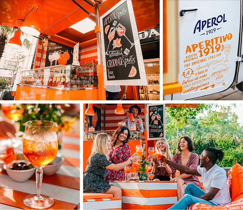 aperol time food truck piaggio usato per tour promozionale in Europa