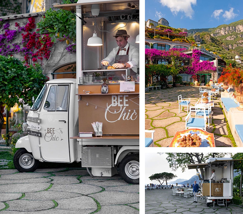 Food truck apecar Bee Chic purchased by Le Sireneuse hotel in Positano and placed on the terrace