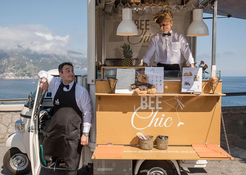 Food Truck Piaggio Bee Chic presso l'hotel Le Sireneuse a Positano