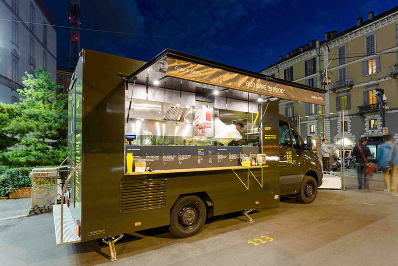 food truck restaurant God Save the Food built on Mercedes van for food catering service at fairs and events