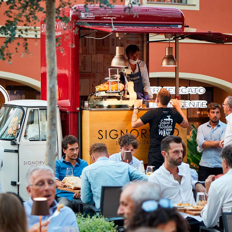 Wine truck Signorvino for mobile drink-food catering at events, selling italian wines and gourmet dishes