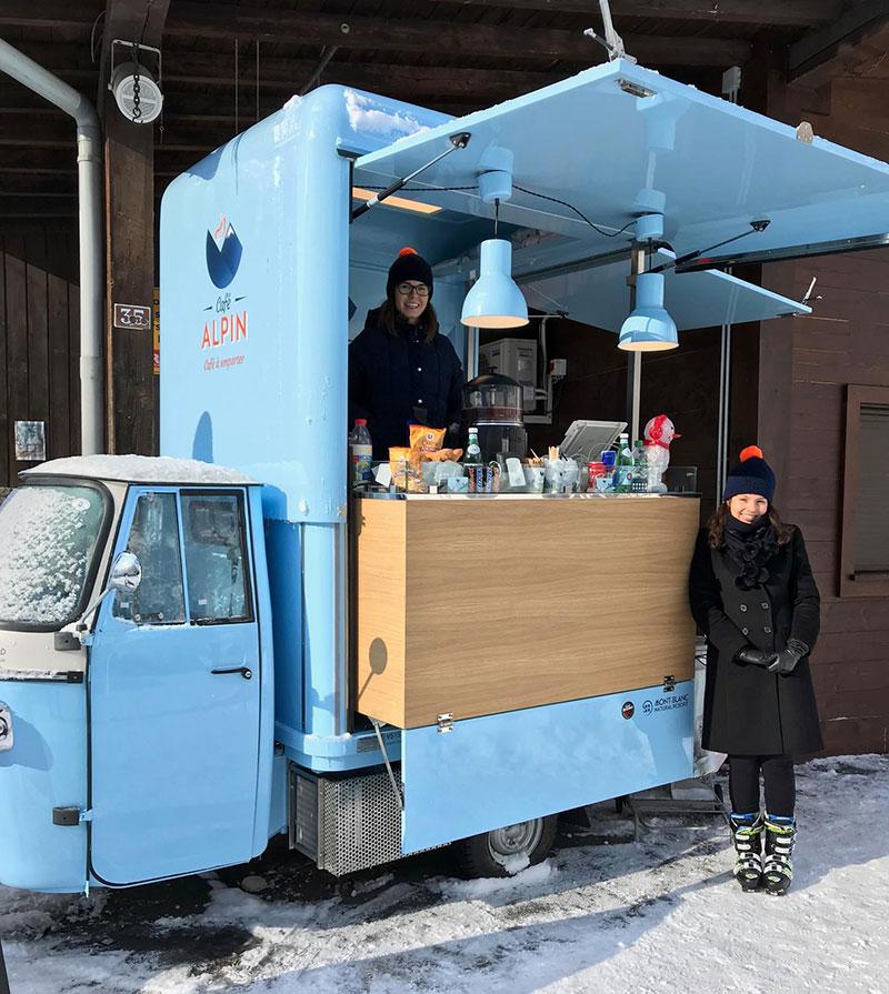 triporteur Cafe Alpin Chamonix coffee truck progettato su misura