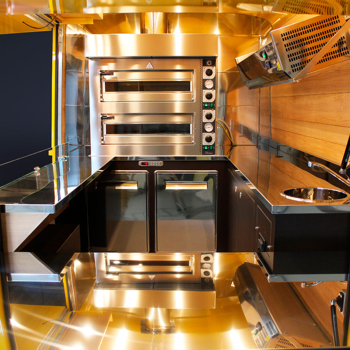 mobile food truck designed mit professional kitchen and two ovens