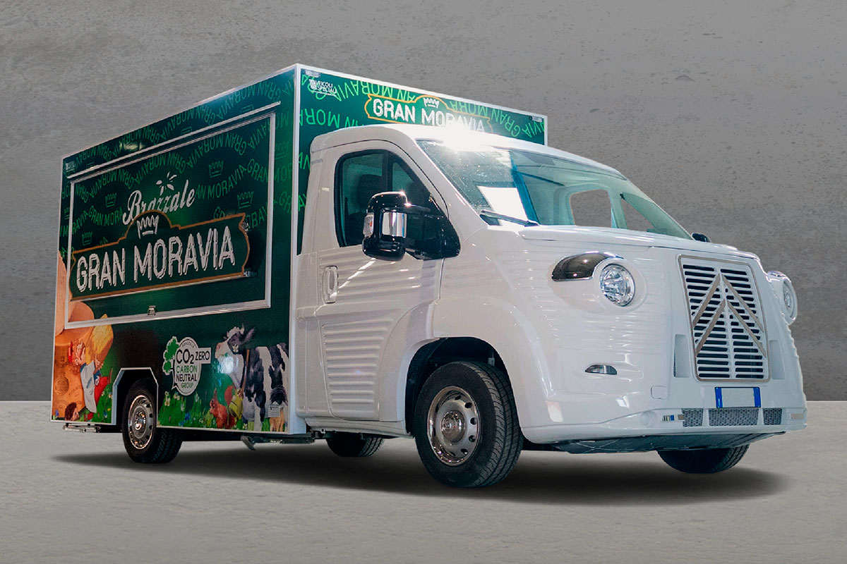 food truck produced for Brazzale the famous brand of cheeses such as Gran Moravia, butter and dairy products