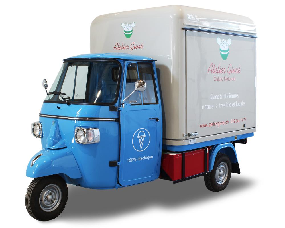ape elettrica gelateria ambulante atelier givre per vendita gelato artigianale